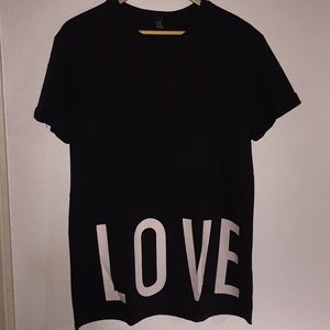 Long Black Tee with Love/Hate Slogans